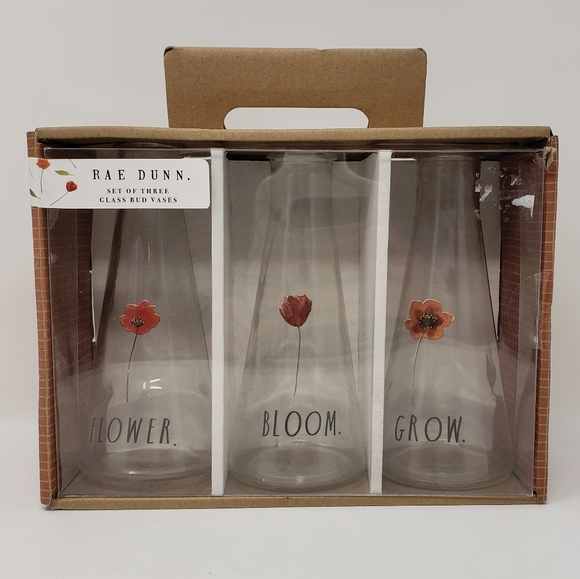 Rae Dunn | Set of 3 Glass Tall Bud Flower Vases